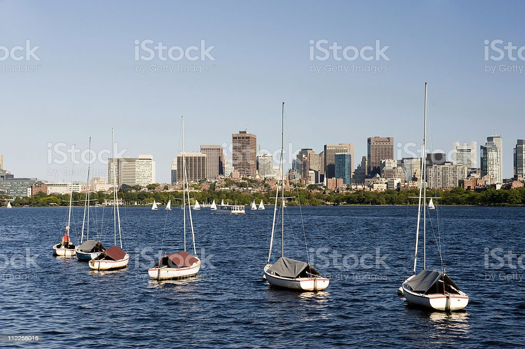 Boston business district with sailboats royalty-free stock photo