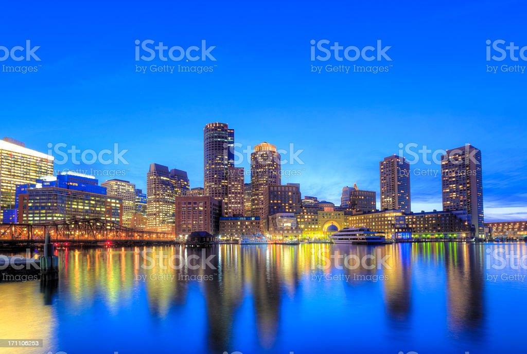 Boston by night royalty-free stock photo