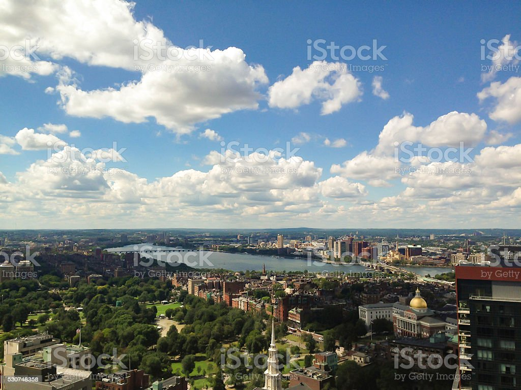 Boston, Cambridge Skyline, Aerial view, Charles River and Beacon Hill stock photo