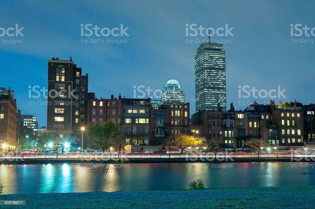 Boston Charles River Basin at night stock photo
