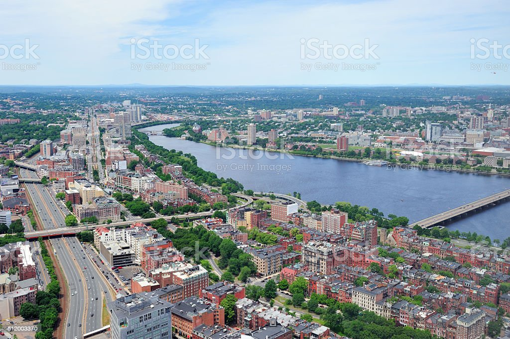 Boston City aerial view stock photo