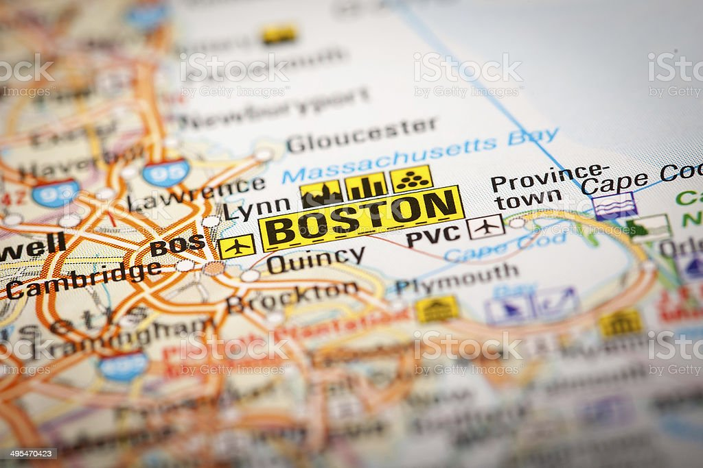 Boston City on a Road Map stock photo