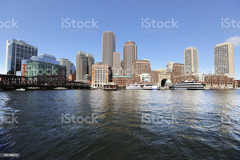Boston City Riverside Buildings royalty-free stock photo