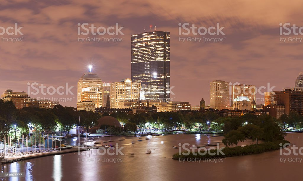 Boston City Skyline and Charles River USA royalty-free stock photo