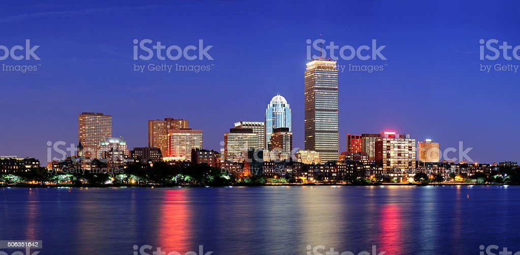 Boston city skyline at dusk stock photo