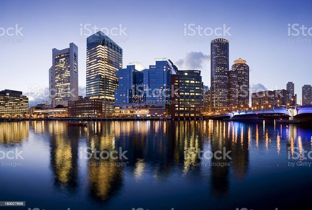 Boston City Skyline Illuminated at Night USA stock photo