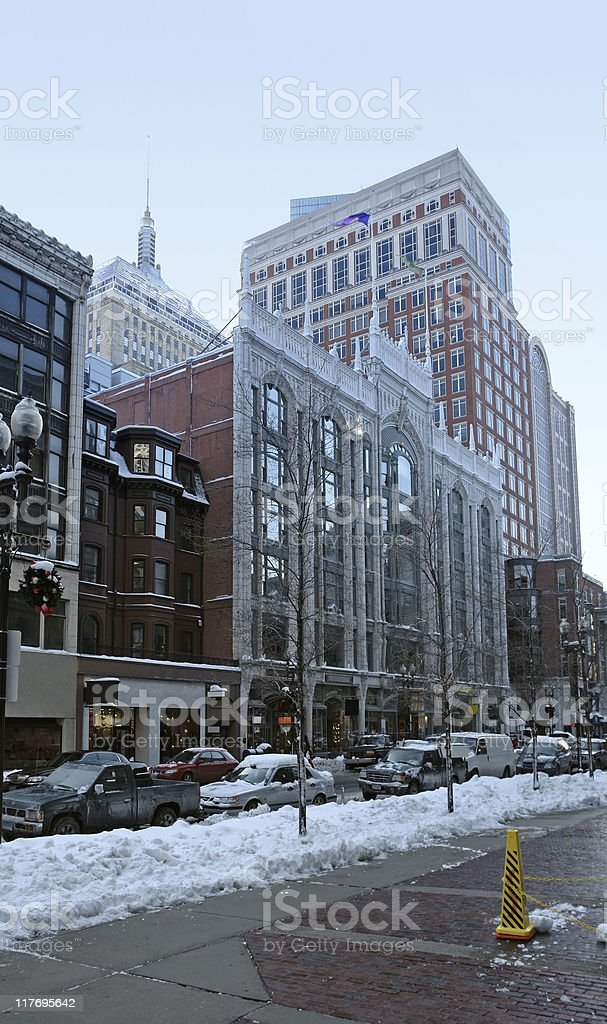 Boston city view at winter time royalty-free stock photo