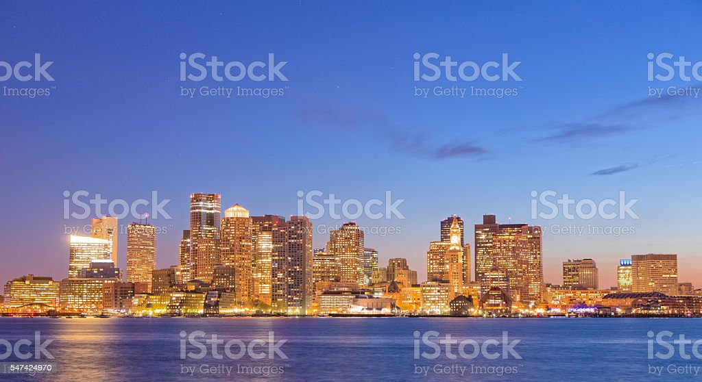 Boston cityscape at dusk stock photo