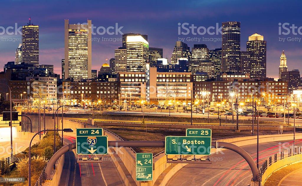 Boston cityscape at night stock photo