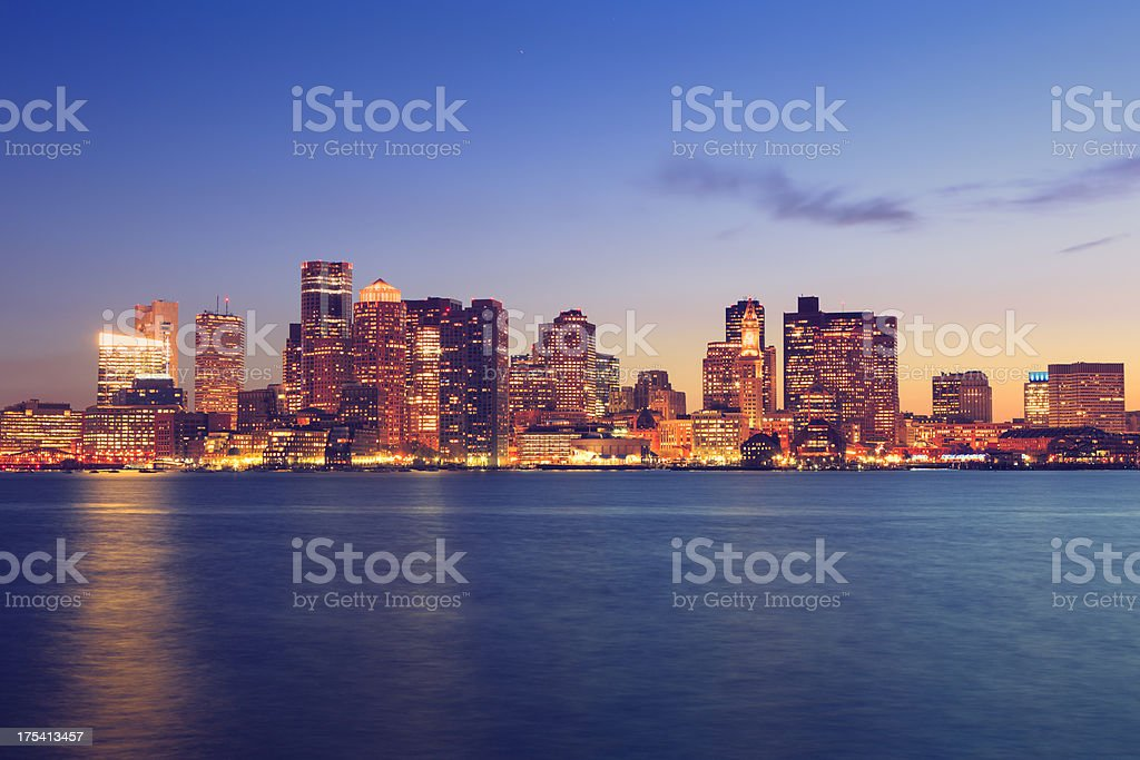 Boston cityscape at night royalty-free stock photo