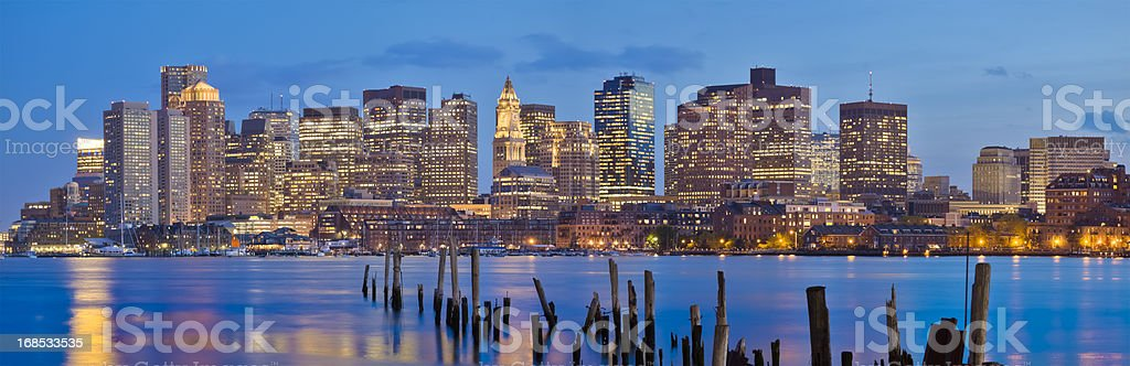 Boston Cityscape in Early Evening - Panorama royalty-free stock photo