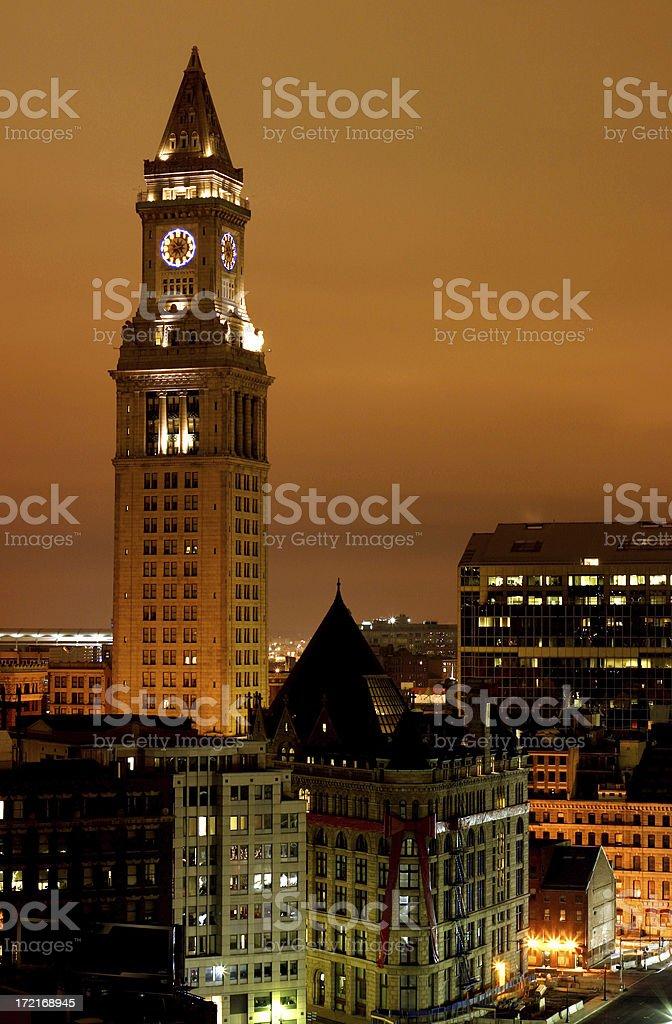 Boston Clock Tower - Custom House royalty-free stock photo