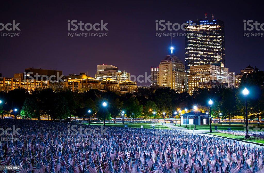 Boston Common American Flags stock photo