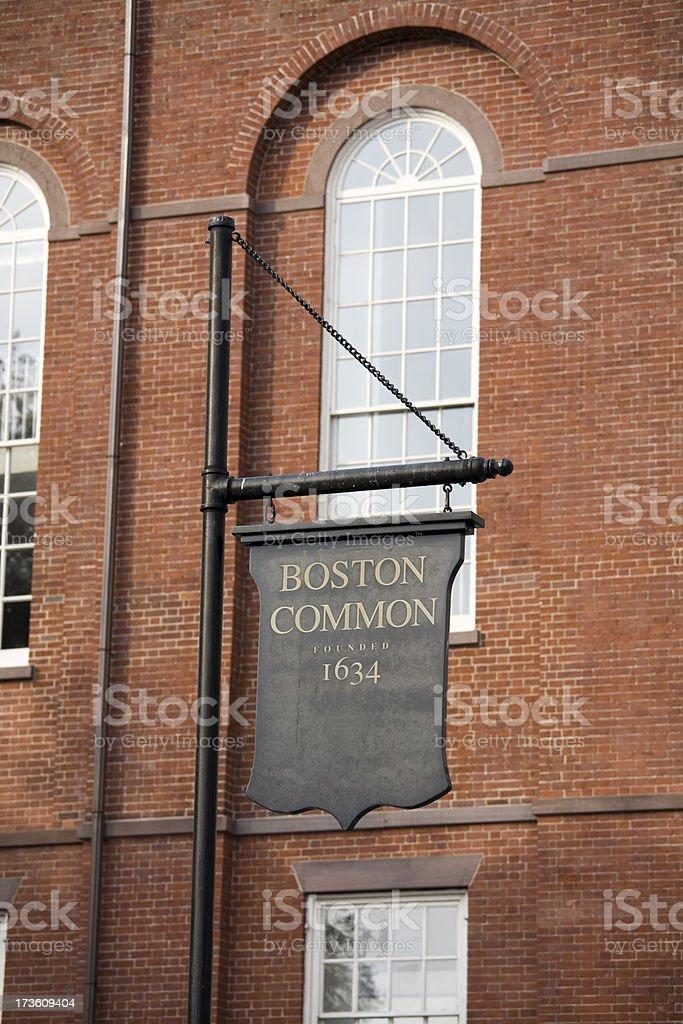 Boston Commons sign stock photo