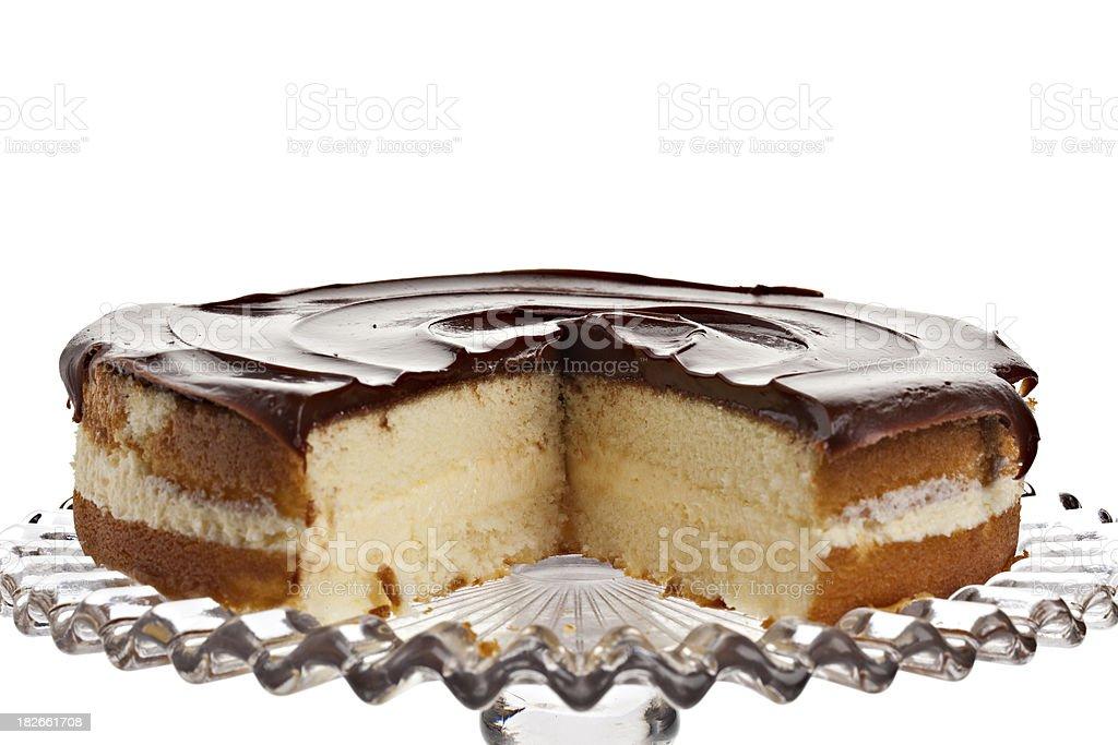 Boston Cream Pie Sliced stock photo