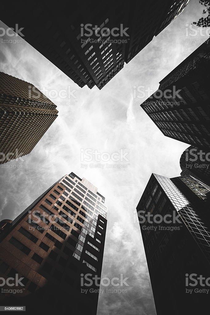 Boston financial district skyline stock photo