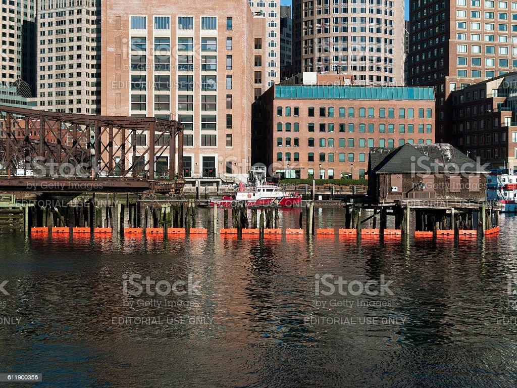 Boston Fire Rescue boat stock photo