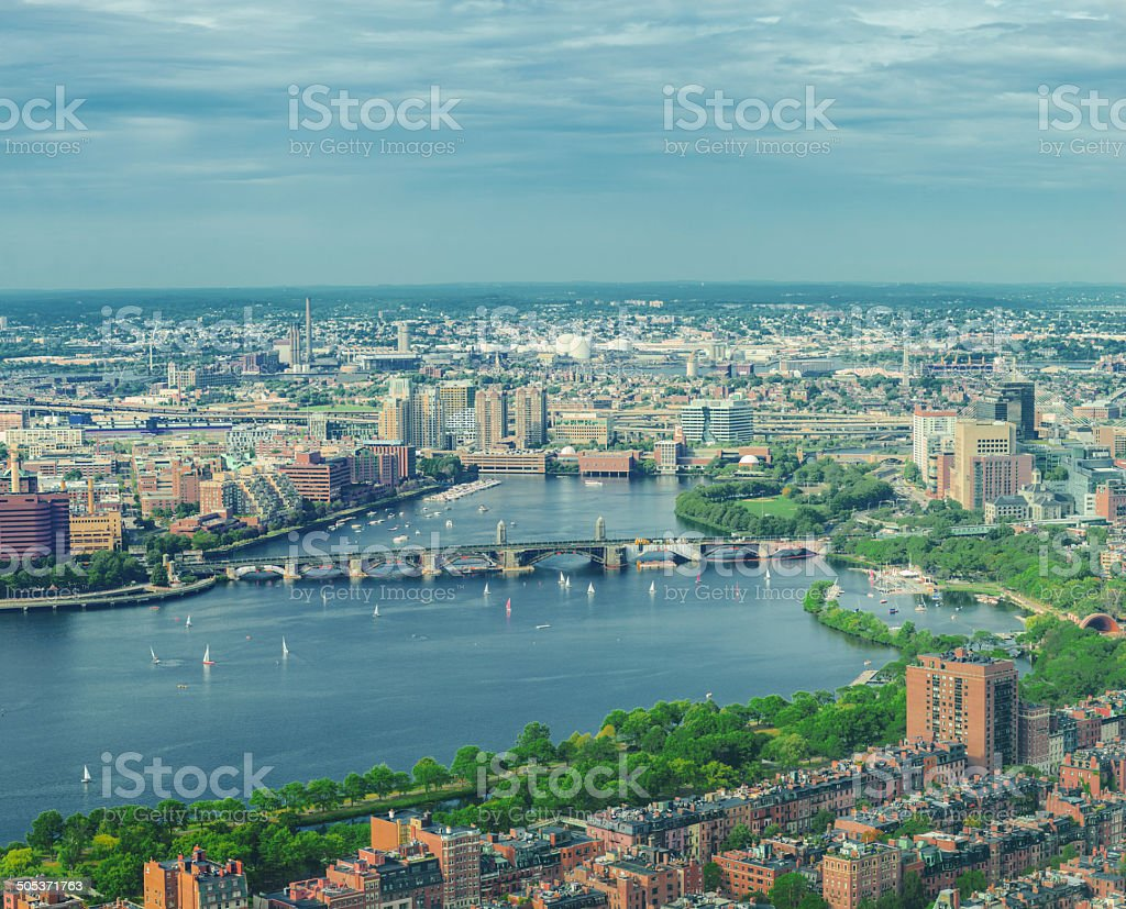 Boston from the air stock photo