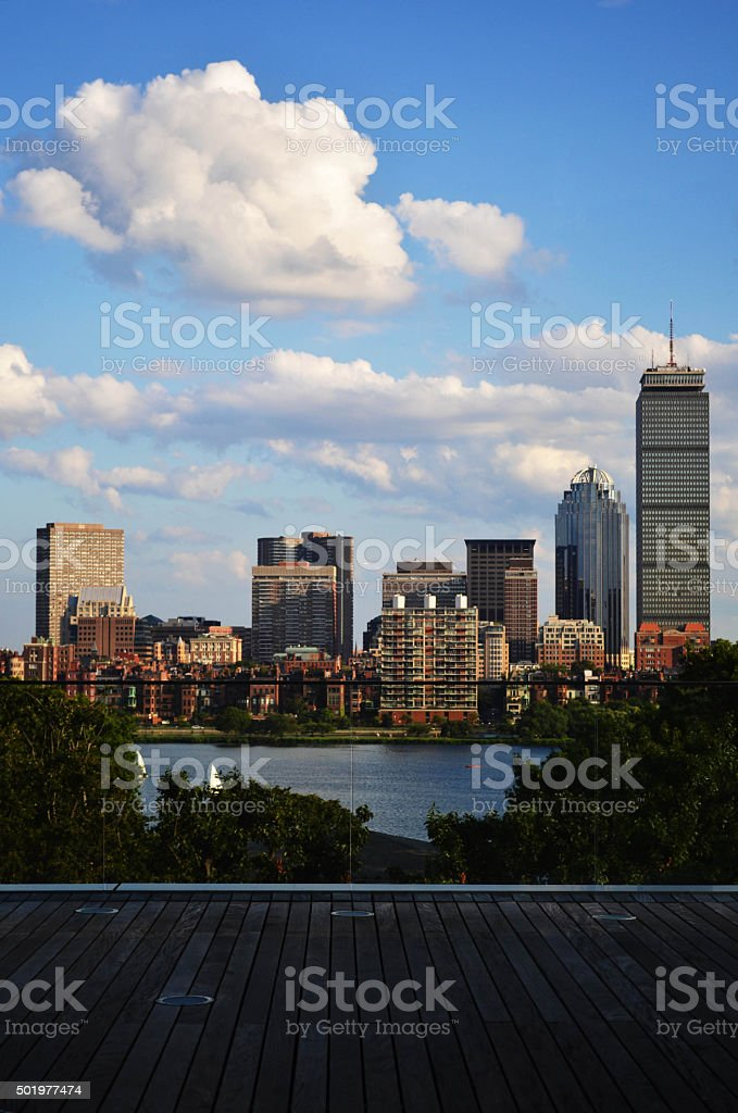Boston from the deck of the MIT media lab stock photo