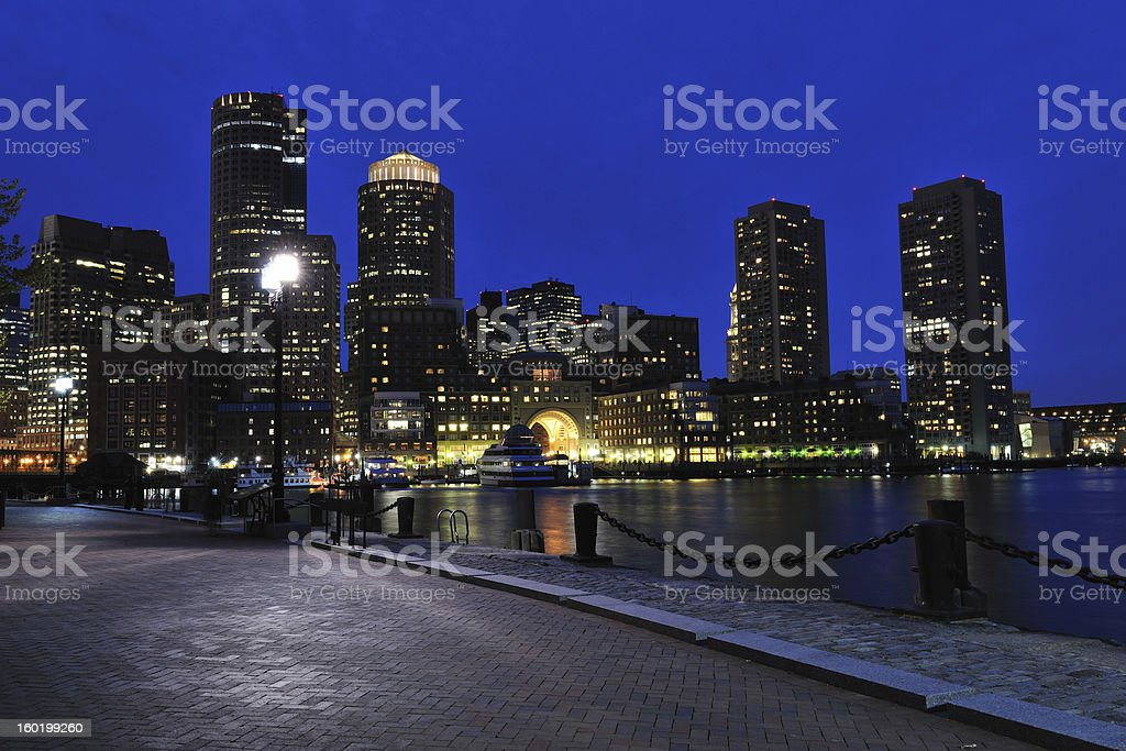 Boston Harbor at Night royalty-free stock photo