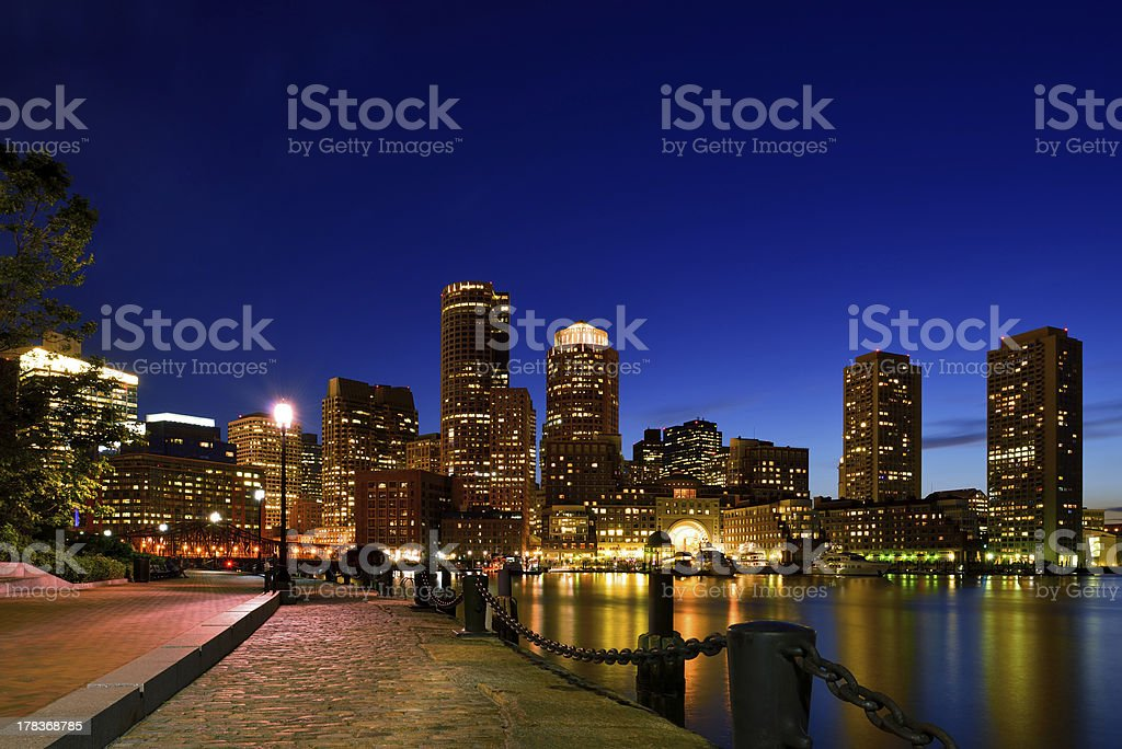 Boston Harbor at Night royalty-free stock photo