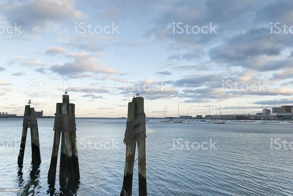 Puerto de Boston. Retroiluminación. Puesta de sol - foto de stock