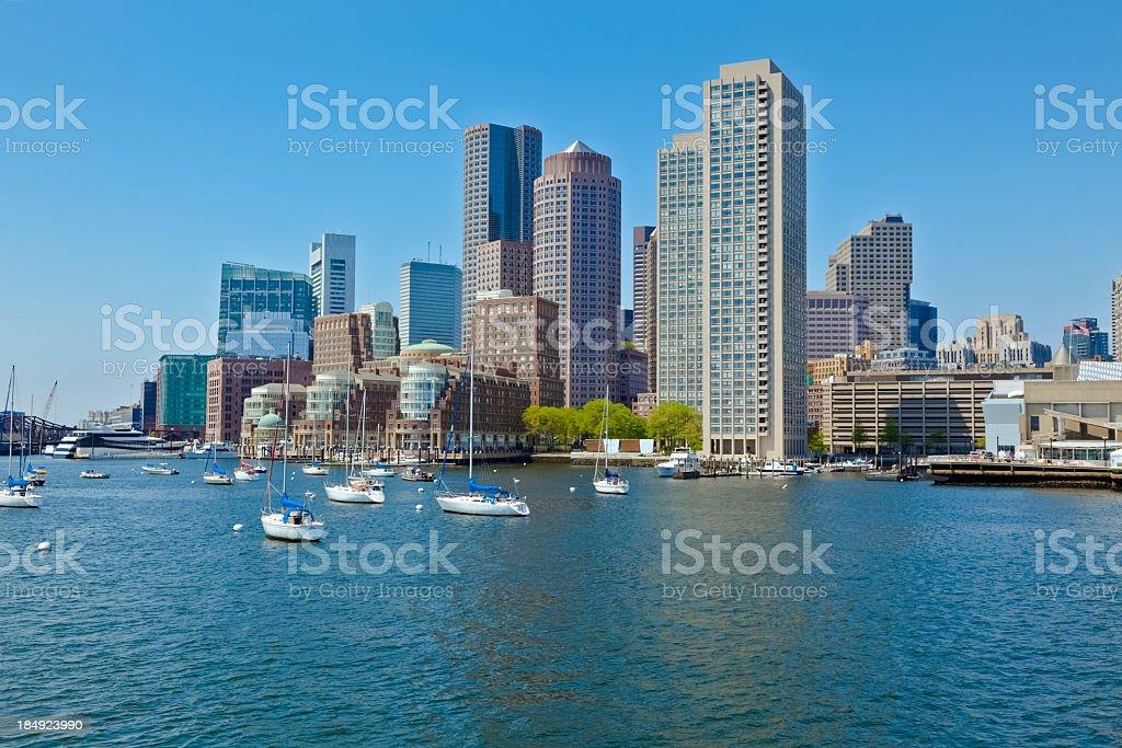 Boston Harbor Cityscape with Anchored Sailboats stock photo