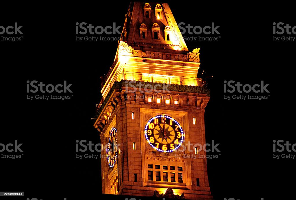 Boston Harbor Customs House Hotel at night with festive lighting stock photo