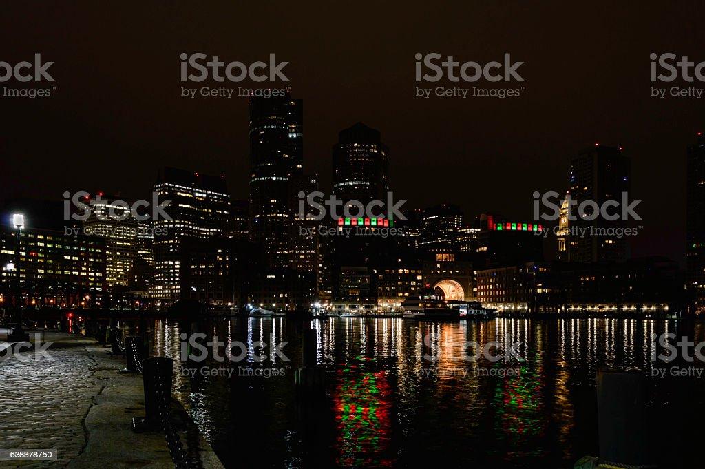 Boston harbor holiday reflections stock photo