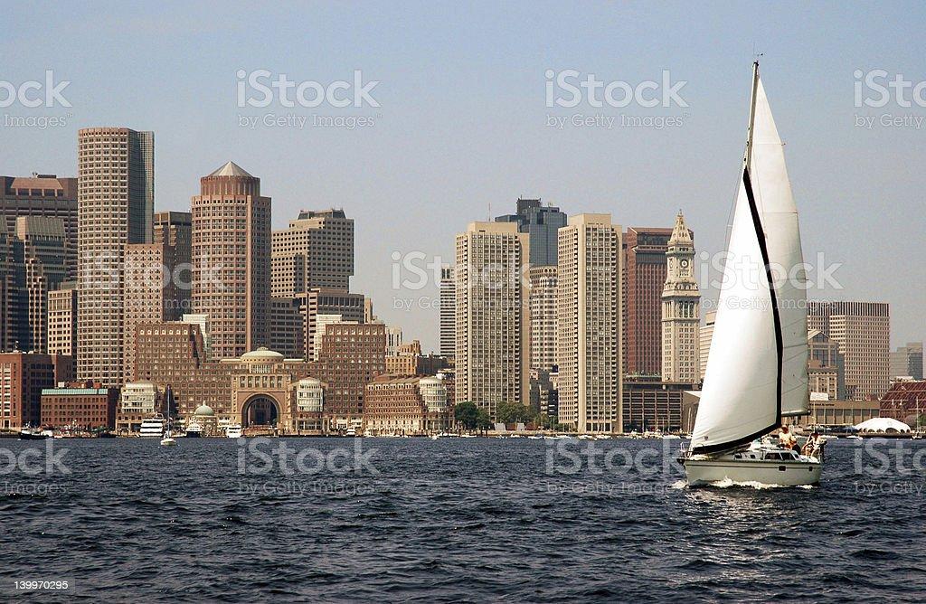 Boston Harbor Sailboat stock photo