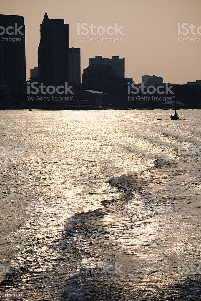 Boston Harbor Sunset stock photo