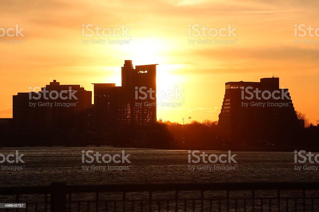 Boston Harbor Sunset royalty-free stock photo