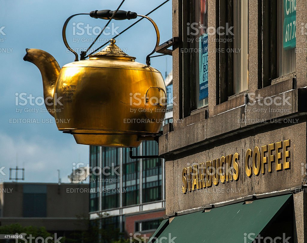 Boston Historic Gigantic Steaming Tea Kettle Now Over Starbucks royalty-free stock photo