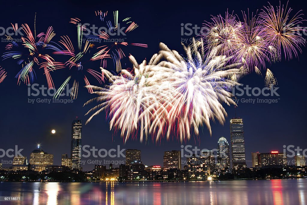 Boston July 4th National Day Fireworks royalty-free stock photo