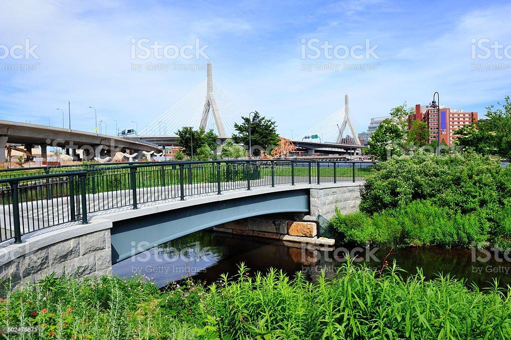 Boston Leonard P. Zakim Bunker Hill Memorial Bridge royalty-free stock photo