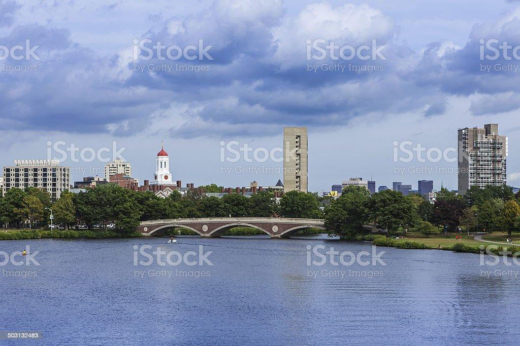 Boston MA, USA - John W. Weeks Bridge Harvard campus stock photo