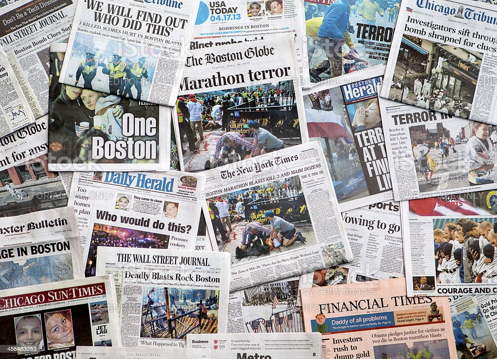 Boston Marathon Bombing headline collage featuring globe stock photo