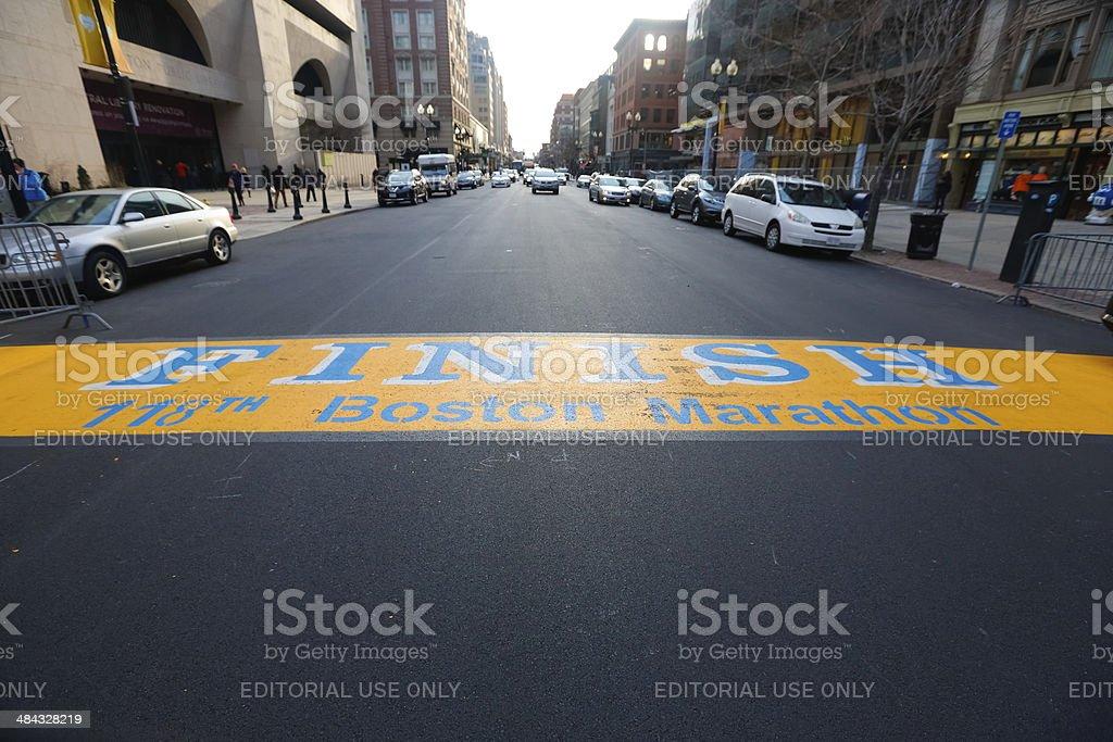 Boston Marathon Finish Line Boylston Street stock photo