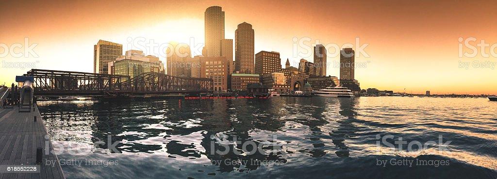 Boston marina skyline at dusk with sunlight stock photo