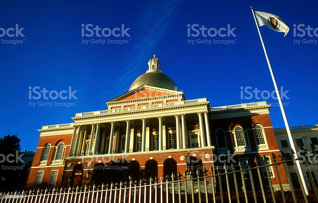 Boston Massachusetts State House Capitol Beacon Hill bright sunny day stock photo