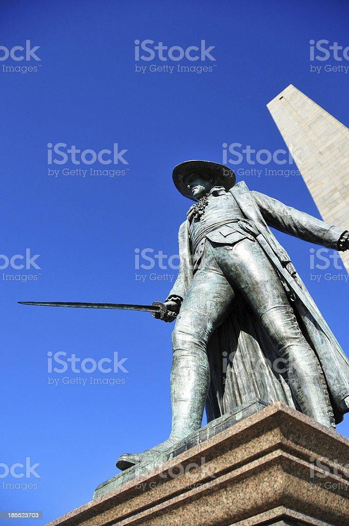 Boston, Massachusetts, USA: Charlestown, Bunker Hill Monument, William Prescott Statue stock photo