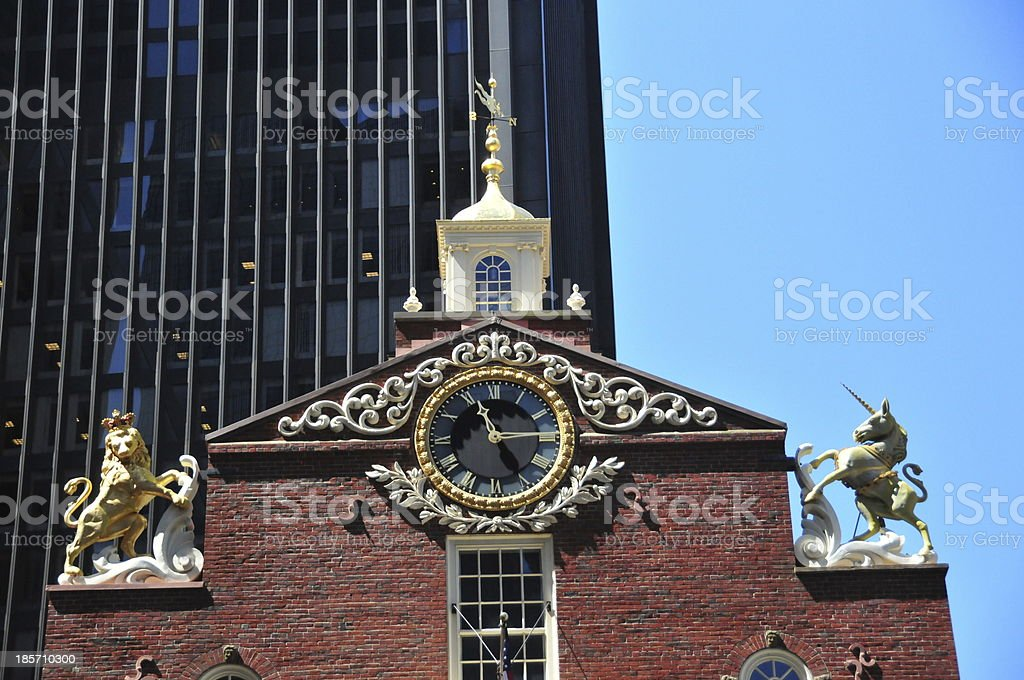 Boston, Massachusetts, USA: gable of the Old State House royalty-free stock photo
