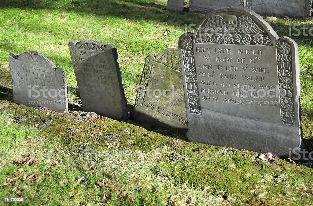 Boston, Massachusetts, USA: the 17th century Granary Burying Ground stock photo