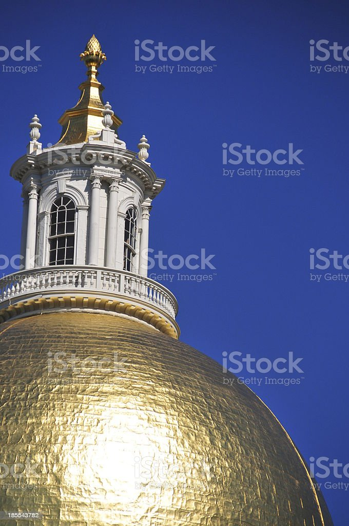 Boston: Massachussetts State House - dome gilded in 23k gold stock photo