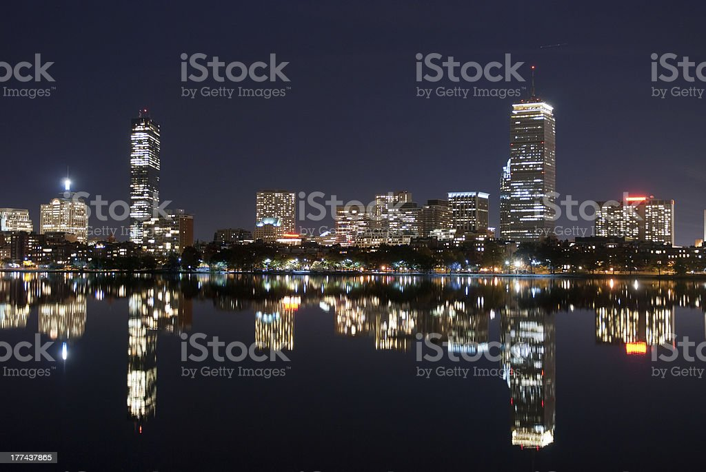 Boston panorama by night royalty-free stock photo