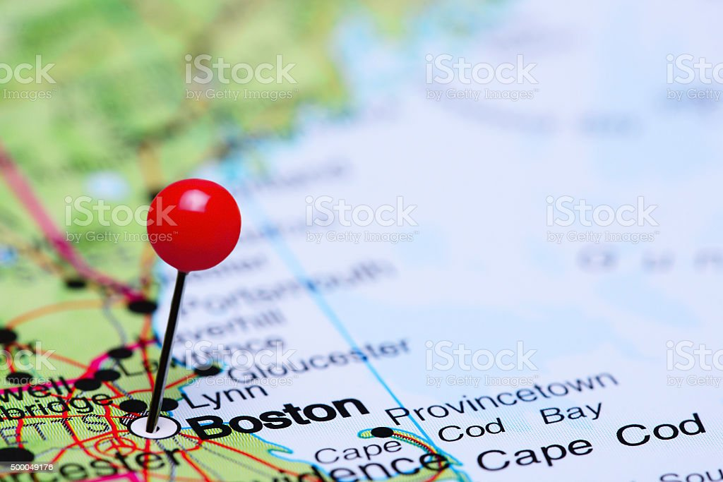 Boston pinned on a map of USA stock photo