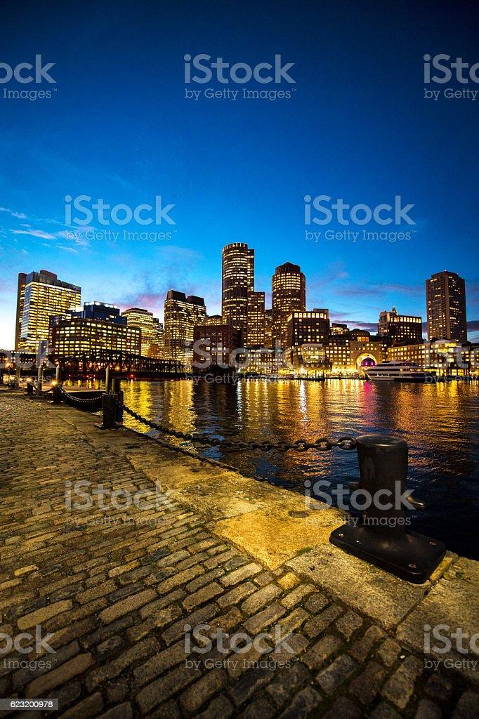 Boston port at night stock photo