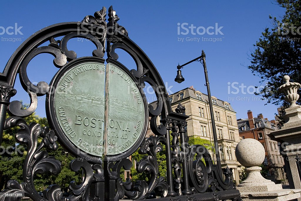 Boston Public Garden Gate Entrance royalty-free stock photo