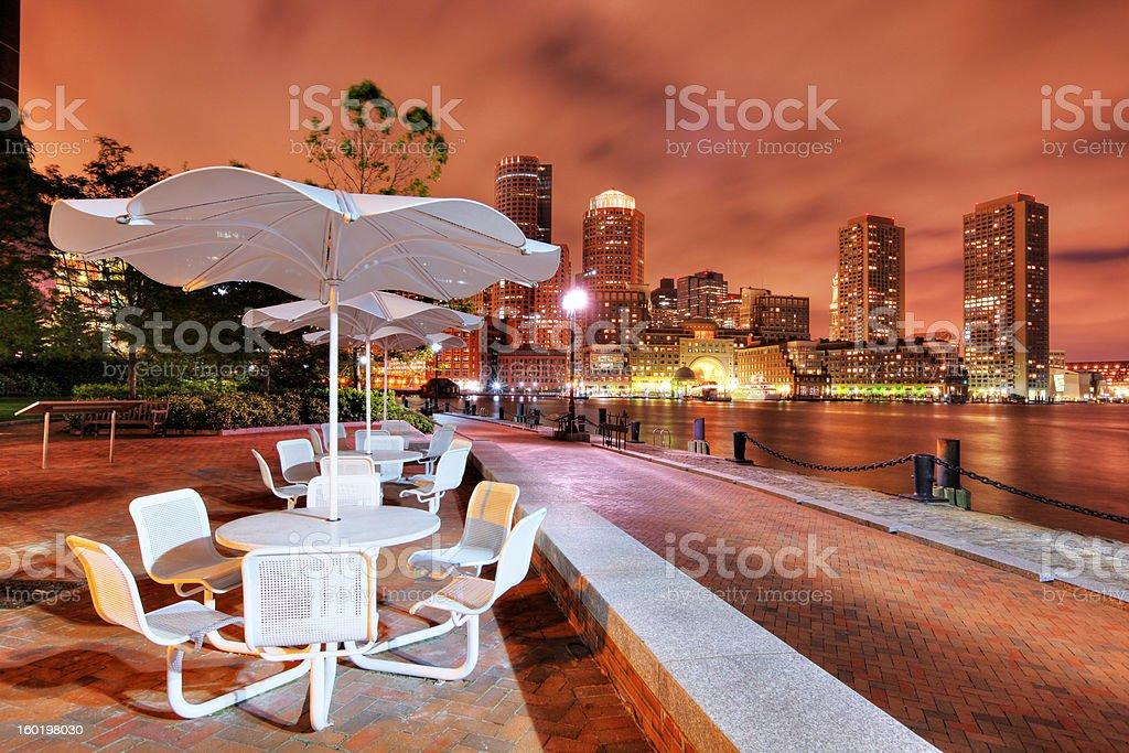 Boston Riverside Terrace at Night royalty-free stock photo