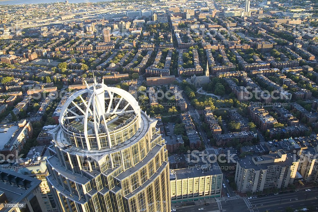 Boston rooftops with 111 Huntington Avenue in foreground stock photo